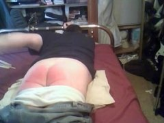 Male Self Spanking on bed