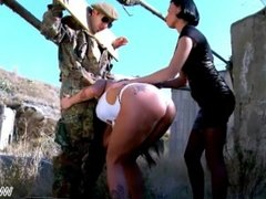Two bad girls teasing soldier outdoors & let him fuck both to share cum