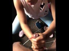 Ebony teen hand job & cumshot