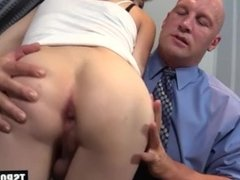 Hot shemale office fuck and cumshot
