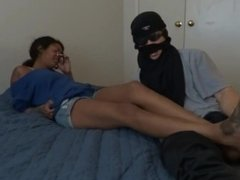 Model Michelle's Big Feet Tickled on the Bed