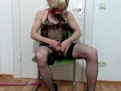 gagged sissy has to fuck Big Black Cock with weights on her balls to cum