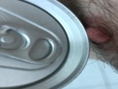 Cold can on my erect nipples