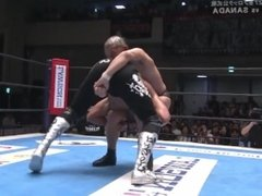 Suzuki finishes muscle boy Sanada away with a sleeper & pile driver