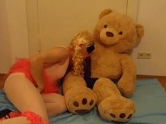 white sissy faggot plays dirty games with her Big Black Cock teddy bear