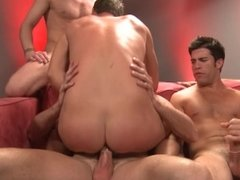 Hot guy gets his ass double penetrated by four hunks