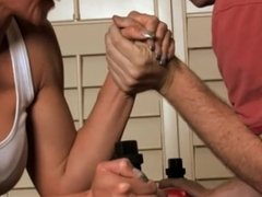 Girl and man armwrestling