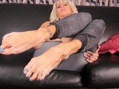 Blonde mature milf soles