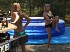 Mud wrestling and oil wrestling girls