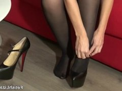 Fitting 3 pairs of my loubutins in pantyhose and leather skirt