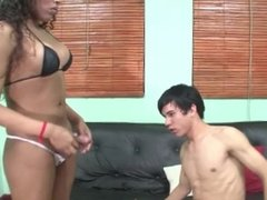 TS Hannah Brings Over A Dude To Fuck His Ass!