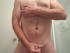 Jerk off and cum with nipple play