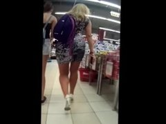 Candid Blonde PAWG in Miniskirt and High Heels