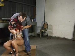 Leashed and Hogtied with chain and cuff