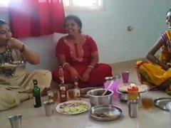 Village Aunties Drinking Wine and shows her Boobs and enjoying hers party