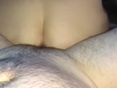 Kitten riding Daddy's cock until he cream pies her wet pussy