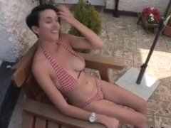 downblouse of sexy kim in the garden