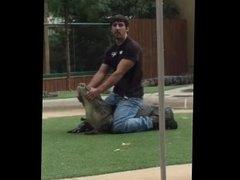 Man dominates unwilling bitch at zoo