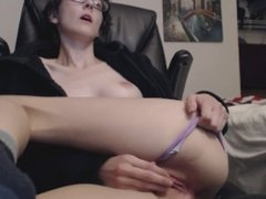 Going to town on my pussy with toys in front of a webcam