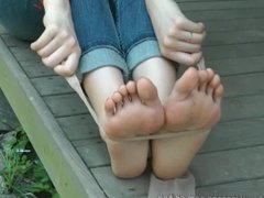 Chinese girl's red toes nylon strip