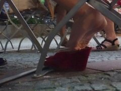 Hot Red Wedge Sandal Dangling And Dipping Beauty 1