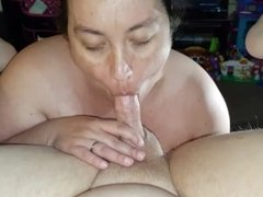 Fingering my ass while she sucks me off