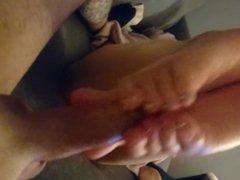 Reverse toe grip Solejob. Cum shooting over my soles