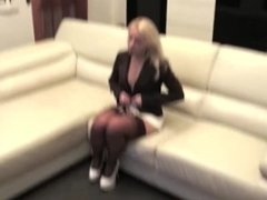 Hot & sexy blonde MILF can't hide her cellulite ass in this too short dress