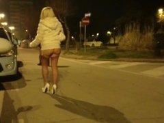 Hot & sexy blonde MILF walking in way too short white dress ass exposure !
