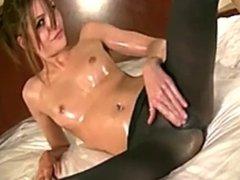 Oiled Fuckable Lola in Black Nylon Masturbates
