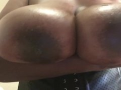 Ebony horny housewife plays with huge tits