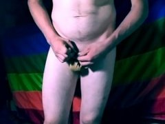 Toying my ass in front of my pride flag.