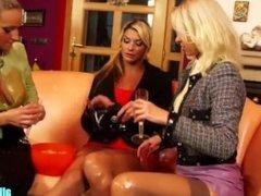 Blonde babes having fun with egg yolk