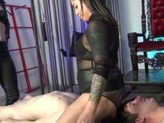 Mistress troy & friend has slaves worshipping ass