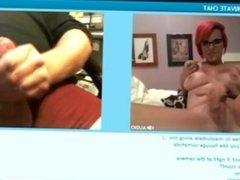 hot redhead cam girl makes cock explode