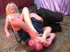 Sexy Blonde Room Mixed Wrestling