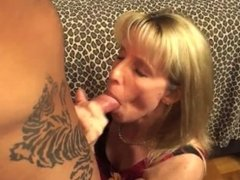 53 year old MILF swallows some 23 year old CUM