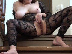 Baby with a hairy pussy and big tits, fucks ass with a brush and masturbate