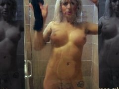 MILF Shemale in the Shower with Big Fake Tits and a Hard Cock