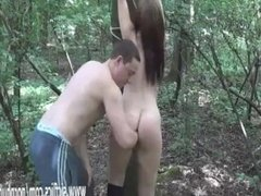 Brutally fisting his GF tied to a tree in public