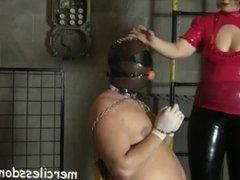Latex Slave Bound & Gagged - Madame Lucrecia Spanks & Humiliates Her Slave