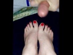 Cumming on girlfriends feet