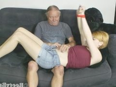 Tape gagged belly button play and tickle