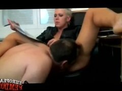 Hot Short Haired Mistress lets Slave Lick Pussy and Ass + FaceSlapping