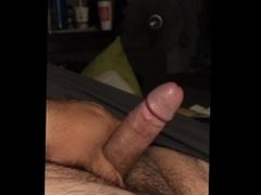 Stroking my fat cock until it gets rock hard