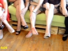 13 girls just for 1 guy - These princess show their sexy legs and bare feet