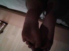 Cumming on my girlfriend's soles