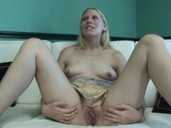 blondie gets naked for the first time then masturbates