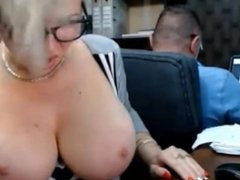 Office blonde strips and plays in office