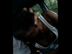 She Deepthroats Cock while listening to Trap Music in The car! And Swallows